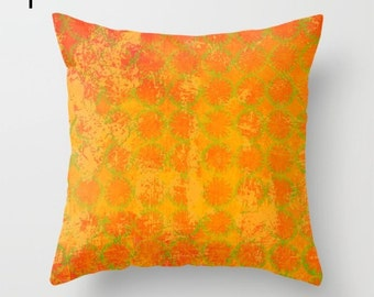 Yellow throw pillow, gold pattern sofa cushion for living room and bedrooms, soft home furnishing for interiors