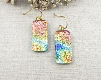 Hanging Dichroic Earrings - Pastel Fused Dichroic Glass Dangle and Drop Earrings with Gold Filled Ear Wire
