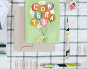 Congrats With Balloons Boxed Set of 8 - A2 Note Card - Congratulations Card - Celebration - Hand Lettered By Valerie McKeehan