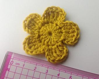 Set of 4 tone mustard crochet flowers