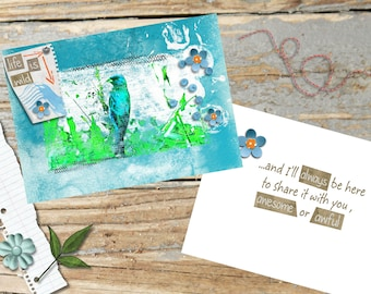 Life Is Wild greeting card featuring Indigo Bunting