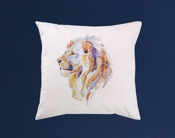 Lion Pillow cover - Art throw pillow - Watercolor painting - Special art design - Gift idea