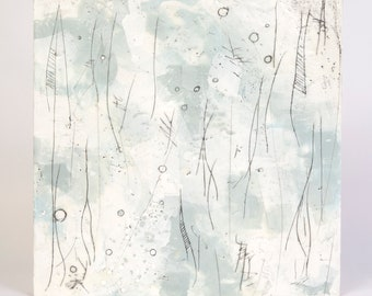 Original Gray and White Abstract Encaustic Painting