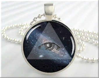 Andromeda Galaxy Pendant, Eye Of Providence, Picture Necklace, Hubble Picture, Resin Charm, Round Silver, Gift Under 20, Space Gift (513RS)