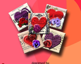 ROMANTIC HEARTS -  Digital Collage Sheet 1.5 inch square images for pendants, earrings, decoupage, scrap-booking etc. Instant Download #211.