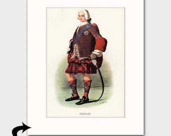 Clan Stewart Family Art Print w/Mat (Clan Chief Art Gift, Scottish Sword, Victorian Powdered Wig) --- Matted Scotland Art