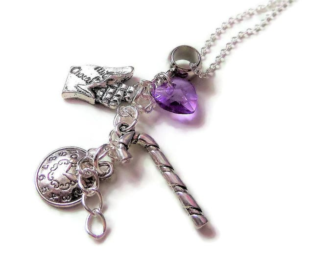 "CHARLIE & the CHOCOLATE FACTORY inspired 20"" silver plated charm necklace Willy Wonka fan gift jewellery Uk"
