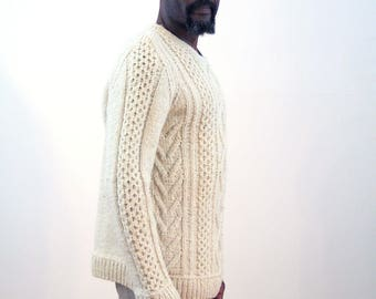 Vintage Fisherman's Sweater L, Cream Sweater, Irish Fishermans Jumper, Cable Knit Pullover, Nordic Sweater, Chunky White Sweater, Large