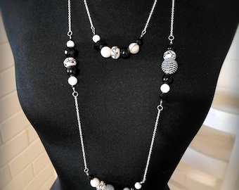 Black and White Layered Necklace