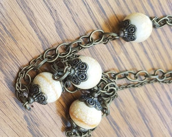 Bronze and Cream Boho Vintage Stlye Bead and Chain Necklace