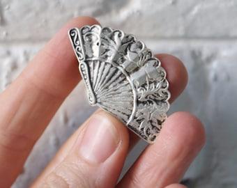Vintage Sterling Silver Fan Brooch / Pendant | Marked 925