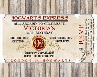 Hogwarts Express Ticket Harry Potter Inspired Birthday Invitation - Digital File