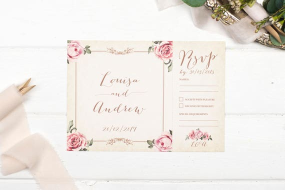 Vintage Wedding Invitation - A5 Ivory Floral-Framed