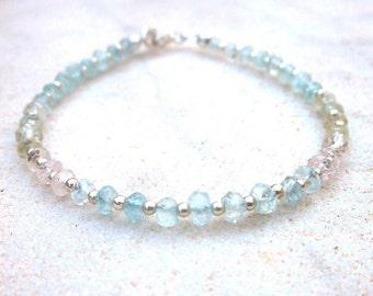 Pastel aquamarine bracelet, ombre aquamarine bracelet, dainty precious stone bracelet, multicolor morganite gemstone bracelet minimal modern