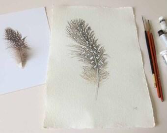Guinea fowl feather original watercolour painting illustration study