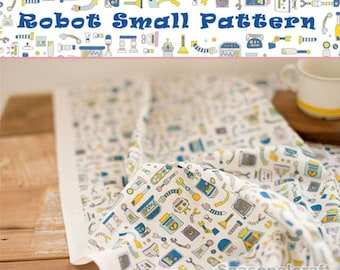 Cotton Linen Fabric For Craft, Small Size Robot,fabric (QT549--Small Print C)