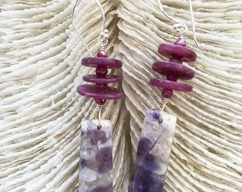 Mexican Purple Opal Earrings | Natural Ruby | Mystic Berry Moonstone | Sterling Silver | Bohemian | Gemstone