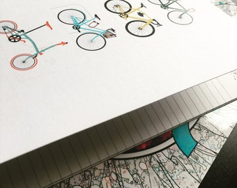 Cycle in the City - light Notebooks-  Illustration Printed on Recycled Paper notebooks. A5 , 48 page Notebooks
