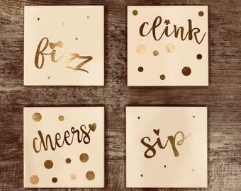 Ceramic Coasters // Wine Coasters // Wine Themed // House Warming Gift // Wedding Gift // Gift