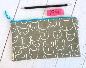 Cat Zipper Pouch/ Cosmetics Bag/ Pencil Case/ Small Zipper Bag