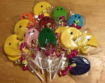 Pac Man chocolate lollipops