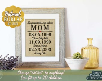 Home Gifts Personalized Gift for Mom, Family Birthdays Printed on Burlap, Wife Christmas Gift, Christmas Gift from kids, For Mom from Kids