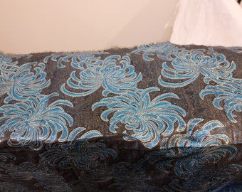 """1980's Vintage Black Turquoise and Gold Metallic Sparkly Shiny Giant Chrysanthemum Shimmering Fancy Polyester Fabric 27""""  long by 46"""" wide"""