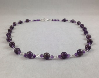 Amethyst Gemstone Grade A and Silver Linked 19 inch Necklace with Silver Toggle Clasp, Amethyst Necklace, Amethyst Jewelry, Purple Necklace