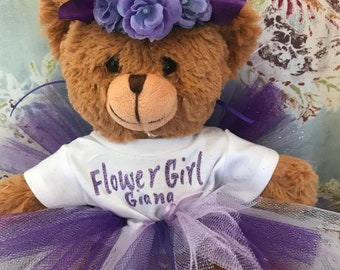 Flower Girl Personalized Teddy Bear - Flower Girl Gift