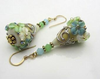 Lampwork Earrings Green Blue White Flower Cone Earrings Glass Bead Earrings Dangle Drop Earrings SRAJD USA Handmade