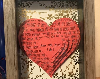 Personalized 3D Hearts Shadow Box