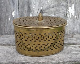 Vintage Brass Box, Pierced Brass Cricket Box Made in India, Incense Box, Brass Storage Box, Stash Box, Brass Home decor, Oval Brass Box