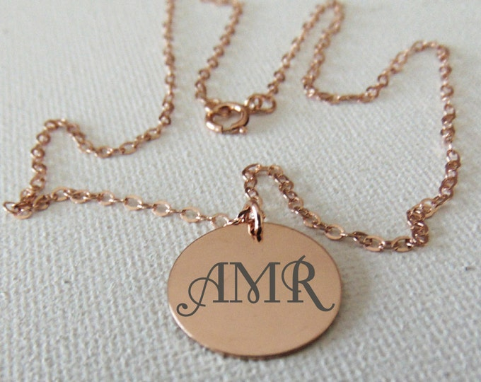 Personalized Circle Pendant Necklace -Gold & Rose Gold Filled- Engraved, with Font Text or One's Actual Handwriting - Jewelry Gifts For Her