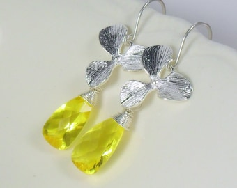 Canary Yellow Quartz Orchid Sterling Dangle Earrings