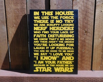 In This House We Do Star Wars - Painted Canvas - Geek chic home decor