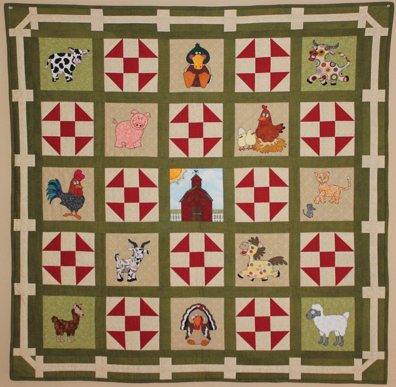 Farm animal applique PDF baby quilt pattern; shoo fly block; boy or ...