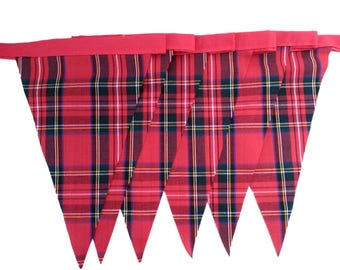 Red Royal Stewart Tartan Single Sided Bunting Available in Various Lengths