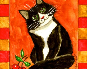 """Folk Art Curious Cat from Original Watercolor Painting As a Blank Greeting Card in two sizes or an ACEO or 5"""" x 7"""" Print"""