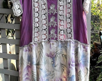 Linen, Lace and Rayon Dress/ Size Large Refashioned Clothing/ Upstyled Spring Dress/ Sheerfab Restyle/ Romantic Clothing/ Boho Clothing