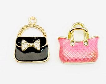 2 handbag gold tone and enamel / 20mm #Ch 166-1