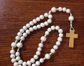 Small White Wooden Rosary with large Our Father beads