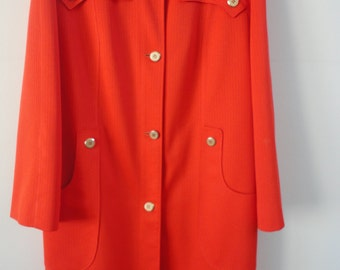 Vintage Misty Harbor polyester 60's woman's tangerine raincoat size 16