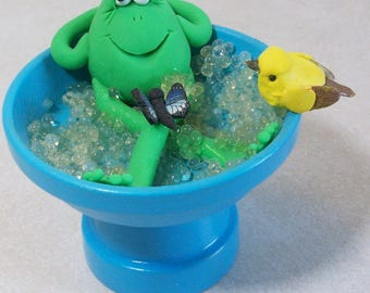 ON SALE was 9.95: Frog and butterfly taking a bubble bath in a blue bird bath, figurine collectible
