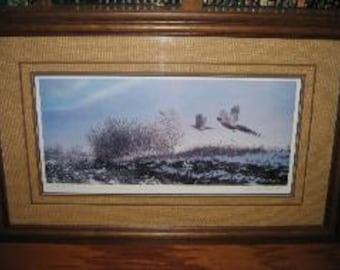 "Contemporary 1980's  Richard Plasschaert ""Winter Marsh Wildlife Pheasants Signed & Numbered Lithograph  Art Print"