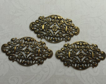 "Vintage silver(gold shown)plate brass fancy filigree,1&3/8th""x3/4"",3pcs-FLG02S"