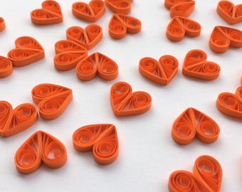 Quilled Hearts Paper Quilling Art Confetti Scatter Ornaments Gifts Fillers Valentines Mothers Day Baby Bridal Shower Wedding Orange Spring