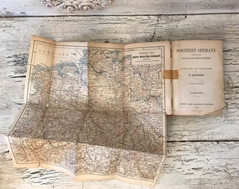 Baedeker's Northern Germany - Antique Travel Guide Book - 1893 - Fantastic Colored Maps and Fold Outs - Tattered and Distressed