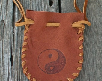 Buckskin leather pouch with yin yang symbol , Drawstring leather amulet bag