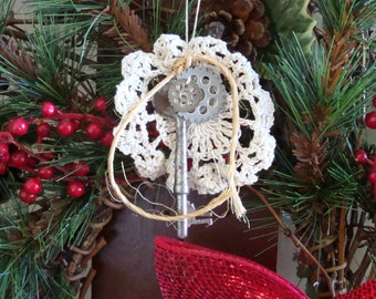 Steampunk Christmas Ornament #3 Skeleton Key Vintage