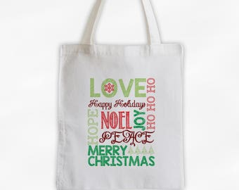Merry Christmas Words Canvas Tote Bag - Red and Green Christmas Holiday Chalkboard Typography Reusable Tote (3022)